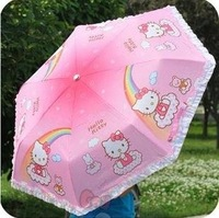 Free Shipping Pink Lovely Kitty Girls Cartoon Umbrella 3 Foldings