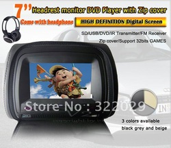 Free shipping 7 inch car headrest DVD player + 1pc wireless headphone Digital screen+zipper+32 bits game+USB+SD+IR+FM SH73wp(China (Mainland))