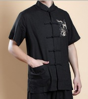 Summer Hot Selling  Black  Chinese Men's Kungfu  shirt Top short sleeves with Dragon M,L,XL,XXL,XXXL