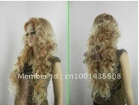 long mixed blonde curly hair women's wig+cap Heat Resistant wig