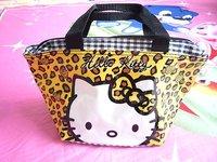 Cute Hello kitty Leopard Stripes lunch bag Handbag