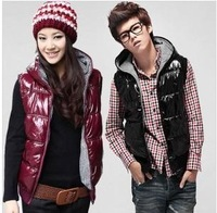 Plus size autumn and winter with a hood shiny casual down cotton vest down cotton vest lovers vest male