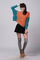 Free shippig 2012 Autumn geometric patterns color matching V-neck loose sweater plus size pullovers1562HX