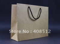 500pcs 32 Wx11 Dx27cm H landscape rope handle 250gsm brown kraft paper shopping bag