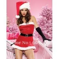free shipping Sexy Christmas Costume Santa Baby Velvet Dress /w Hat