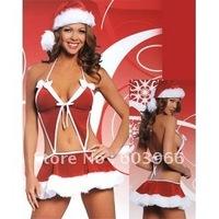 free shipping Hot Sexy XMAS Miss Santa Mini Dress Openback /w hat