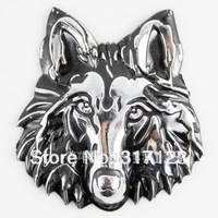 Free shipping (10PCS/LOT)3D Metal Wolf Head Cool Car Decals 6.5cm grey Vehicle Decals Bumper Stickers