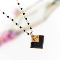 wholesale 10pcs/lot 1473 accessories gold square gem necklace pendant female