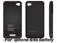 Emergency Rechargeable External Charger Backup Battery Case For iPhone 4 4G 4S 1900mAh free shipping 5pcs/lot