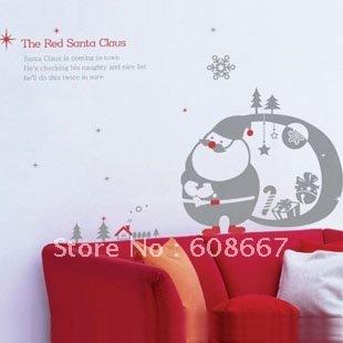 Free shipping New Wall sticker Santa Claus Christmas Home Decor Fashion Mural Decal Art Wall decor Decoration Vinyl S-35