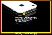 free shipping 10pcs/lot little diamond dust plug for iphone,ear cap for i9220 i9300, Rhinestone dust cap,earphone jack plug
