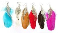 2012 Pop Exotic emotional appeal , multicolor feather earrings ,36pairs/lot,Angel wing earrings