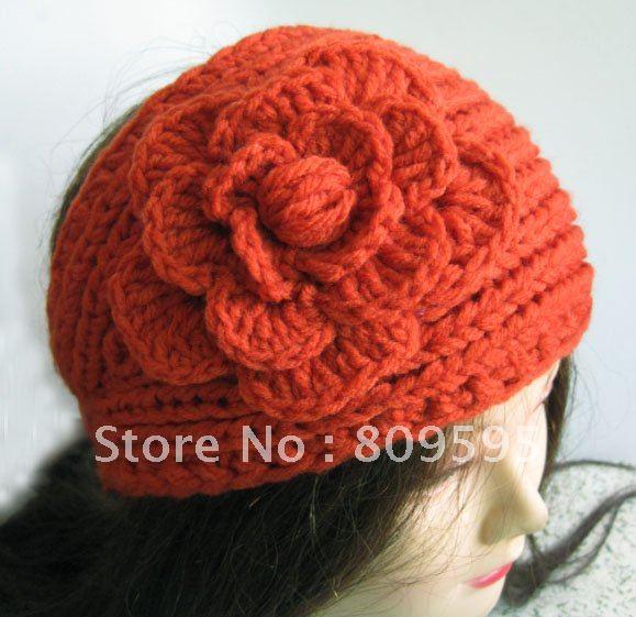 Free shipping , Knit Headwraps Flower Crochet Hat Ear Warmers Head Wrap(China (Mainland))