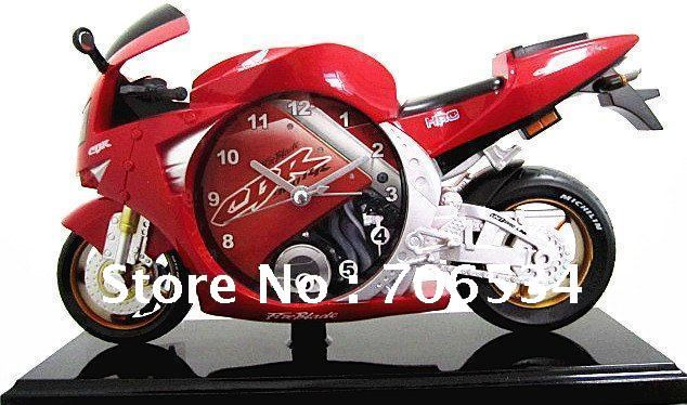Hot sell novelty Motorcycle alarm clock alarm clock motorbike clock 4 colors ABS material gift Retail or Wholesale(China (Mainland))