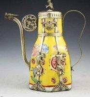 CHINESE GRAFT TIBET SILVER PORCELAIN MONKEY TEA POT