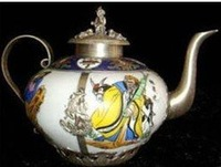 Beautiful Tibet Silver Eight Buddha China ware tea Pot