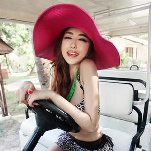 wholesale 5pcs/lot free shipping Hat strawhat summer women's sunbonnet straw braid large brim beach big along the cap sun hat