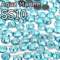 SS10 2.7-2.8mm,1440pcs/Bag Aqua Marine DMC HotFix FlatBack Rhinestones,machine cut iron-on garment crystal stones gliters