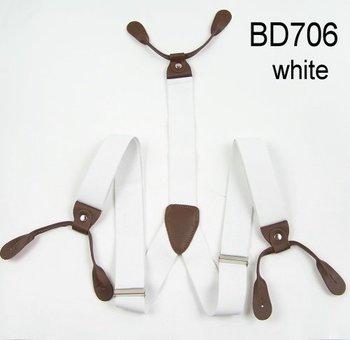 Mens Adjustable Кнопка holes Unisex suspenders Сплошной Белый Женщиныs braces BD706