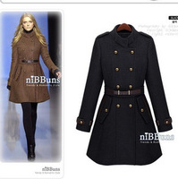 free shipping! Double-breasted stand collar slim belt wool trench coat women cashmere outerwear long design overcoat WTP2