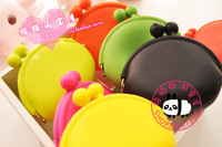 free shipping wholesale 10pcs/lot 58 duomaomao candy color jelly color silica gel coin purse key wallet storage bag