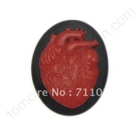 Free Shipping Hollween Themed Resin Pendant 18*25 MM With Red Heart Design With Wholesale Price/ Flatback Themed Resin Pendant