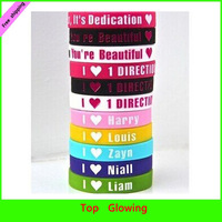 HOT SELLING! DHL free shipping 100pcs/lot 1D I Love One Direction Silicone Wristband  Mixed Design Bracelets