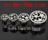 Popular flesh tunnell stars Ear Piercing Plug 50pcs  mixing 8 sizes FL306