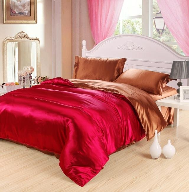 Free shipping red comforter set queen size fashion imitated silk bedding set bed sheet/duvet cover set bedspread pillowcase(China (Mainland))