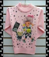 Свитер для девочек hot 3pcs/lot cute fashion cartoon design baby knitted sweater