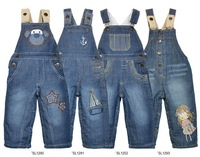 Free shipping !2012 new!4 style, children overalls cowboy overalls, add wool upset the baby winter overalls (4 pcs/lot)