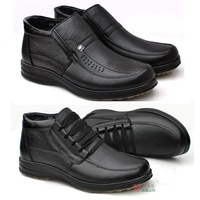 Free Shipping, Winter,Genuine Leather , lace, men,  warm cotton shoes, cotton-padded boots, winter high top