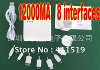 12000MA bank power +a generic USB data cable +8 phone adapters+ box   2000MA output