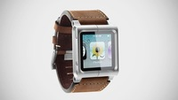 10PCS X Brown/Black Leather Aluminum Watch Band Wrist Strap for iPod Nano 6th 6Gen