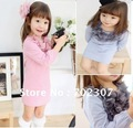 Free shipping!! 5pcs/lot baby girls Flower Dress Cotton Long T-shirts Pink/Blue colors girls spring dress 25