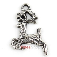 200pcs Hot Charms Christmas Reindeer Alloy Pendants Fit European Jewelry 141399