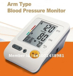 Free Shipping Portable Home Digital Arm Blood Pressure Monitor, Heart Beat Meter, with LCD Display and 4X30 memories, BP-103H(China (Mainland))