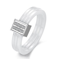 211 fashion accessories general lovers finger ring trinuclear boring beautiful pure white ceramic ring