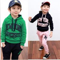 2014 new style 5 sets/lot baby boys girls 100% cotton long-sleeve hoodies+trousers sports set kids tracksuits
