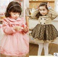 2012 5pcs/lot girl lace design dust coat dress Fashion cotton children dresses for autumn baby clothing Wholesale145-2