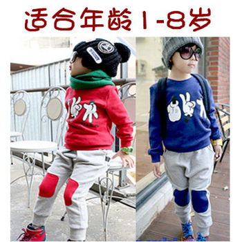 Free Shipping 2012 child spring male child female child sports set baby casual sweatshirt set
