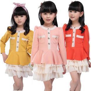 Free shipping 2012 Clothing small female child dresses autumn 2012 100% cotton chiffon long-sleeve dress baby princess dress