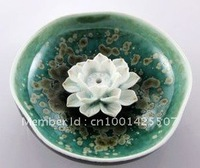 Lotus Ceramic Incense Holder Burner Round Brand New