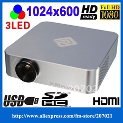 Mini 3LED HD Prosjektor Pocket Beamer 720p 1080i 1080P Micro Video Projector Home Theater HDMI AV VGA USB SD TV tuner(China (Mainland))
