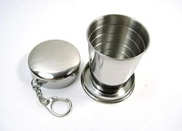 Free Shipping New Portable 240ml Stainless Steel Collapsible Folding Travel Cup Mug With Keychain Wholesale,128pcs/lot