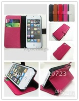 10pcs/lot  New genuine cowhide leather Skin case wallet with credit card slot for iPhone 5Gs 5th mix colors