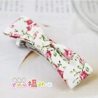 Foreign trade the original single product super lovely floral fabric bowknot female hair clips