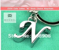"""Z334a Best Popular Cute Letter """"N"""" thick Charm Metal Keychain Key Ring"""