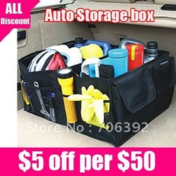 Retail Free Shipping Black Car Boot Organiser storage Bag Auto Storage Box Multi-use Tools organizer 1pcs/lot(China (Mainland))