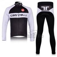 winter black  and white  CASTELLI  clothing  Wear  bike Long Sleeve  Cycling Jersey +  pants